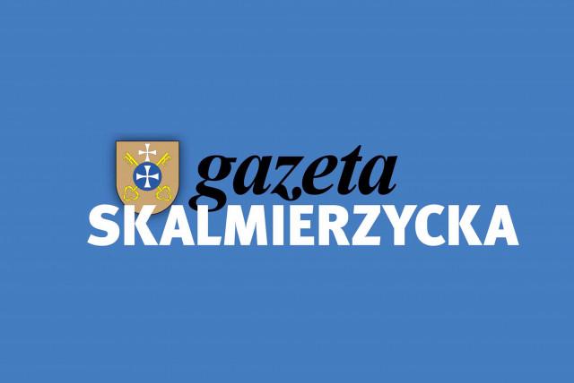 logotyp; cherb nowe skalmierzyce na niebieskim tle z tekstem gazeta skalmierzycka